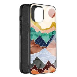 Husa BitCase Colorful Mountain pentru iPhone 12 Mini