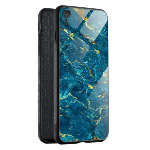 Husa Blue & Gold Marble iPhone XR